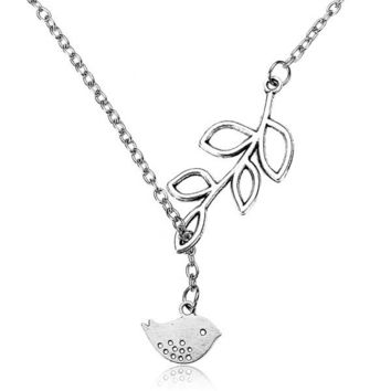 Silver Branch Tree Leaves Bird Necklace