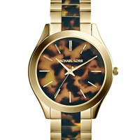 Michael Kors Mid-Size Golden/Tortoise Stainless Steel Slim Runway Three-Hand Watch