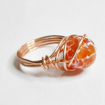 Fire Agate Facet Gemstone Orange White Copper Wire Wrapped Ring