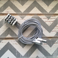 New Super Cute Jeweled Black & White Chevron Designed Dual USB Wall Connector + 10ft White Braided Samsung Galaxy S5 Cable Cord