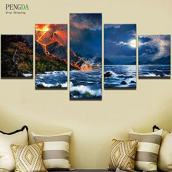 PENGDA Modular Pictures 5 Pcs Night View Canvas Painting Wall Art Abstract Decorative Wall For Living Room Cuadros Frame Picture