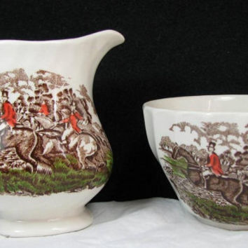 """Vintage CHURCHILL CHINA of ENGLAND Country Life Bowl and Creamer Set """"The Jump"""""""