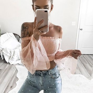Mesh Bell Sleeve Off-the-Shoulder Top