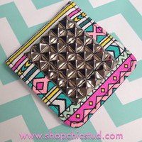 Studded Compact Mirror - Multi Color Pastel Tribal Print - Silver, Black, or Gold Studs