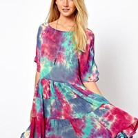 ASOS Smock Dress In Tie Dye With Tiers