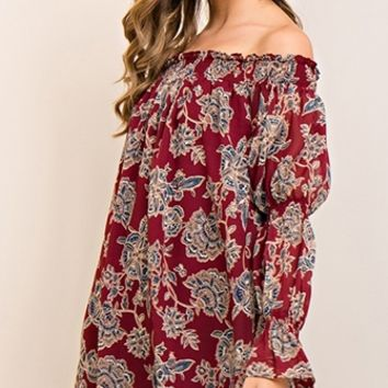 Lasting Impact Floral Long Sleeve Off The Shoulder Ruffle Shift Mini Dress - 3 Colors Available (Pre-Order)