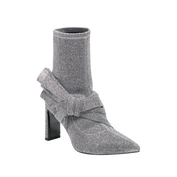 Sigerson Morrison Silver Fabric Helin Stretch Bow Heel Ankle Boot