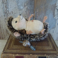 Hugo Hedgehog: vintage style, soft sculpture animal, artist bear.