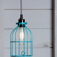 Industrial Lighting - Turquoise Blue Wire Cage Light Pendant