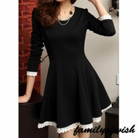 Fashion Ladies Women Lace Patchwork Long Sleeve Black Pleated Mini Dress = 1841869700