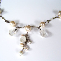 Wedding Jewelry Swarovski Pearl Necklace with Natural Quartz and Fancy Long Chain