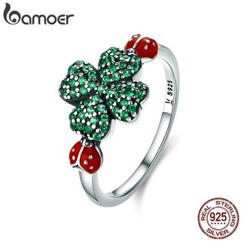 BAMOER 100% Authentic 925 Sterling Silver ladybug & Clover Flower Green CZ Crystal Ring for Women Sterling Silver Jewelry SCR309