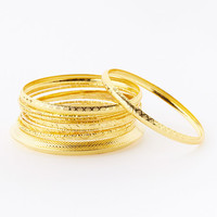 Gold Textured Bangle Set | zulily