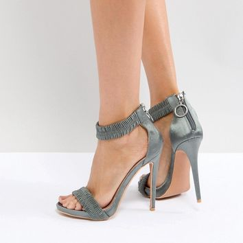 Lost Ink Gray Ruched Heeled Sandals at asos.com