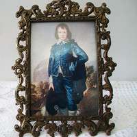 Vintage Framed Blue Boy Picture Ornate Metal Frame Made in Italy Home Decor