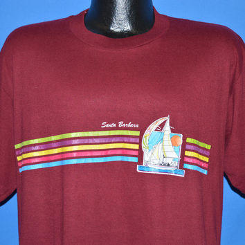 80s Santa Barbara Rainbow Sailboat t-shirt Large