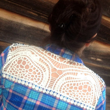 Flannel Shirt Sequin Elbow with Lace Embellished Shirt  - CUSTOM Order - Boho Sparkle Elbow Patch-  Plaid Flannel Shirt  Small-XL Plus Size