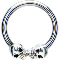 Silver 925 Skull Meets Skull Closure Ring | Body Candy Body Jewelry