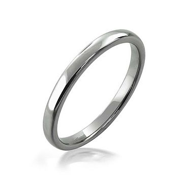 Thin Dome Couples Wedding Band Tungsten Rings Shinny Silver Tone 2mm