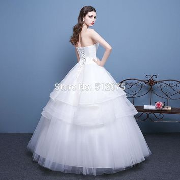 White Princess Strapless Tiered Sleeveless Long Wedding Dresses Flowers Lace UP Ball Gown Wedding Gowns