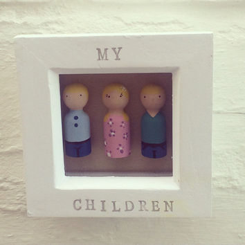 Peg People Frame, Family Tree, Peg People, newborn gift, personalised frame