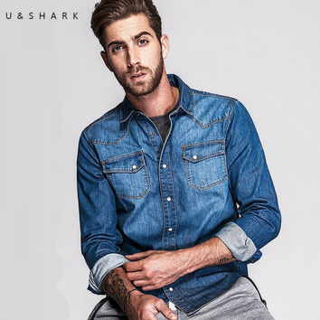 Style Light Blue Jeans Collar Shirt Men Casual Cotton Autumn Fashion Long Sleeve Denim Shirt Male
