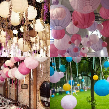 "6"" 8"" 10""  Inch Multicolor Chinese Traditional Wedding Round Paper Lantern Hanging Christmas Party Decoration Lampion Rice Lamp"