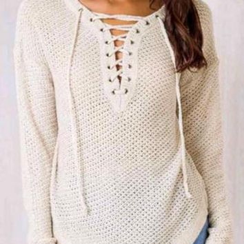 White Cut Out Lace-up V-neck Long Sleeve Casual Oversized Pullover Sweater