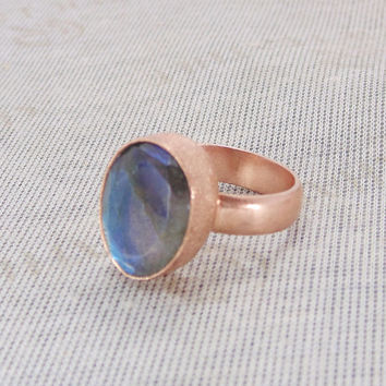 Handmade Brass Ring - Labradorite Ring - Gemstone Ring - Semi Precious Ring - Rose Gold Vermeil Ring - Large Statement Ring - Brass Ring