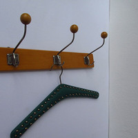 Mid Century coat rack / vintage wall hooks / German furniture / 50s 60s / home decoration, wooden, towel bar