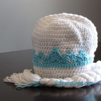 Elsa Princess Frozen winter Hat, crochet.  Photo prop. Snow Queen beanie with braid. Winter hat. Disney inspired.