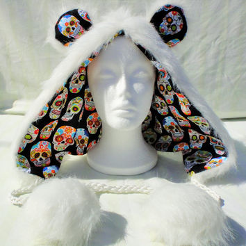 White Polar Bear Rave Hood Dia De Los Muertos Black Sugar Skull Calavera Animal Spirit Hood Scoodie