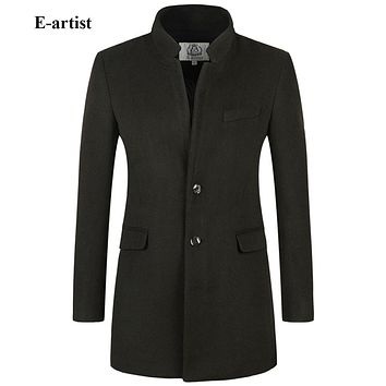 Men's Slim Fit Stand Collar Long Wool Trench Coats Jacket Male Winter Outwear Overcoats