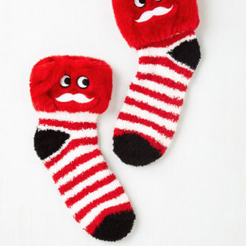 80s Laughing All the Way Slipper Socks Size OS by ModCloth