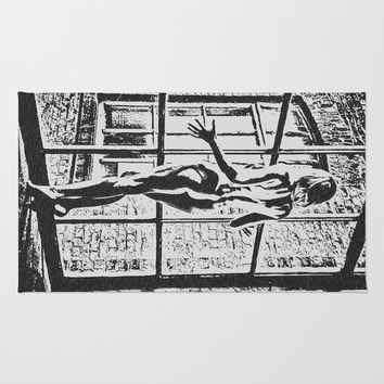 Set me free - sexy naked girl at the window, black and white erotic artwork, adult art Rug by Casemiro Arts - Peter Reiss