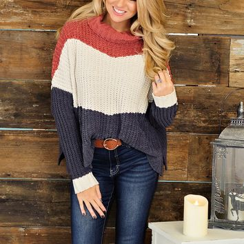 * Waiting For The Right Time Chunky Sweater: Brick/Navy/Ivory