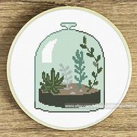 Succulent terrarium cross stitch pattern, Modern cross stitch pattern, Plant cross stitch, Counted cross stitch pattern, xstitch, Garden