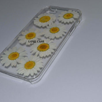unique iphone 5 case iphone 4 case iphone 4s case Iphone 5s case 5c case, Dried daisies Pressed Flower Real Flower resin case