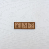 Big Bang Theory Inspired Laser Cut Periodic BaZnGa Brooch/Lapel Pin