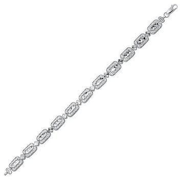 14K White Gold Antique Vintage Look Filigree Rectangular Link Bracelet, size 7.25''