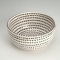 EveryDay with Rachael Ray Black and White Bowl with Hand Painted Vertigo Spiral Dots