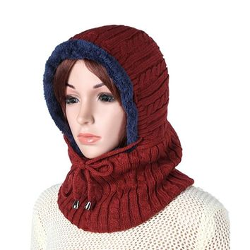 Plush Knitted Hooded Neck Warmer Cap For Women Men,Fall Winter Warm Thick Knit Beanie Hat With Earmuffs Hooded Scarf Ski Beanies