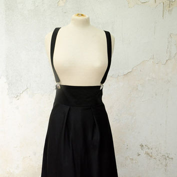 Black Jumper Skirt, High Waisted with Removable Suspenders, Knee Length