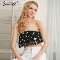 Simplee Ruffles star print chiffon tube tops women Sexy beach strapless short tops Elegant summer bustier crop top