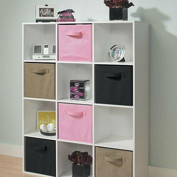 White 12-Cubical Closet Organizer with Fabric Drawers