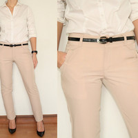 Dress Pants Skinny Trousers for Women in Beige Office Fashion