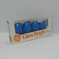 1 Package of 4, 1980s Glow Bright GE Replacement Christmas Bulbs in Blue, Original Package, Indoor Outdoor Candelabra, Christmas Decor, 5w