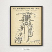 Indian Motorcycle Poster, Front and Rear Wheel Driven Motorcycle Patent Art, Motorbike Print, Motorbike Blueprint Art, Boys Room Decor Gift
