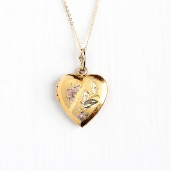 Vintage Gold Filled Over Sterling Heart Locket Pendant Necklace - Mid Century 1940s Sweetheart Flower Romantic Love Charm Jewelry