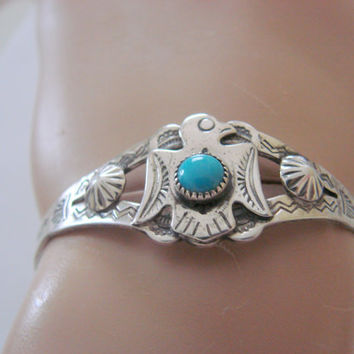 Vintage Native American Sterling Turquoise Thunderbird Cuff Bracelet